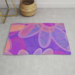 FIORI bright jumbo floral abstract in vivid pink purple blue Rug