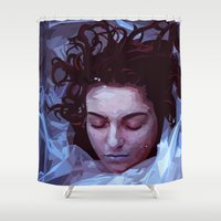 laura palmer Shower Curtains featuring Laura Palmer from Twin Peaks by Alice Teal