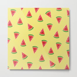 Cute Watermelon Slices Yellow Pattern Metal Print