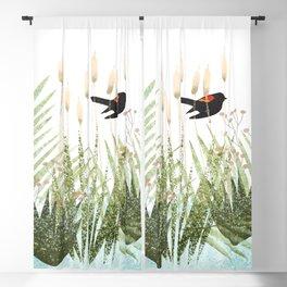 Red Winged Black Bird & Botanicals Blackout Curtain