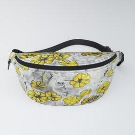 black white yellow splash flowers Fanny Pack