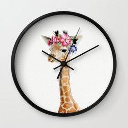 Baby Giraffe with Flower Crown Wall Clock