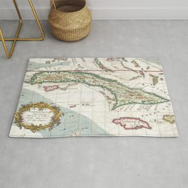 Vintage Map of Cuba and Jamaica (1763) Rug