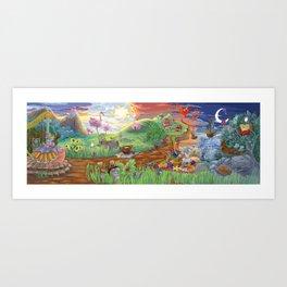 Large Fantasy Hand Painted Print 200x70cm Art Print