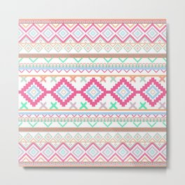 Pink teal Aztec Tribal Diamond geometric Pattern Metal Print
