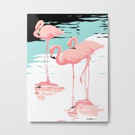 Three Pink Flamingos, Flamingo Retro Pop Art Metal Print