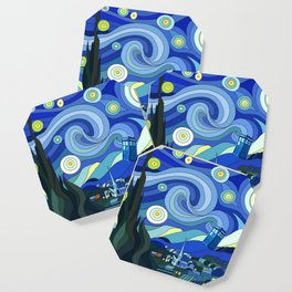 Tardis Art Starry Night Coaster