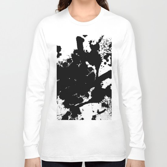 Black and white splat - Abstract, black paint splatter painting Long Sleeve T-shirt