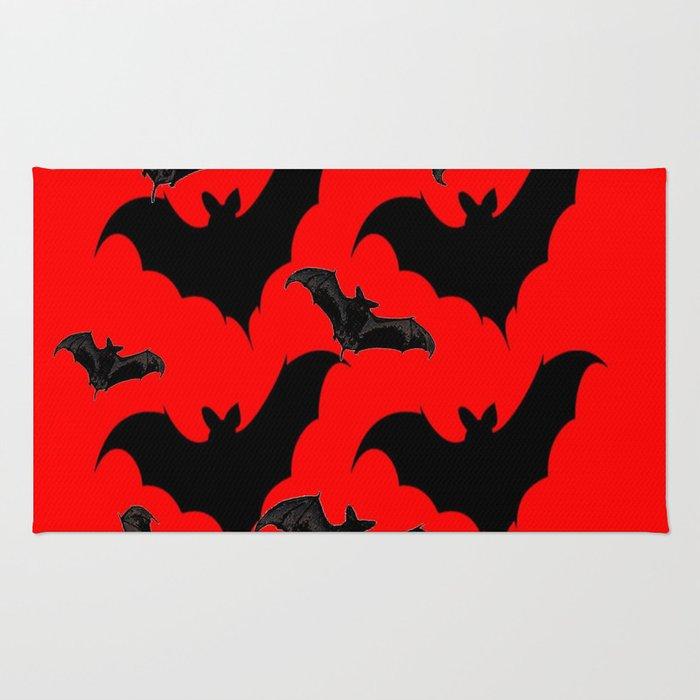 HALLOWEEN BATS ON BLOOD RED DESIGN Rug