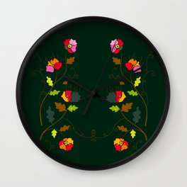 Bright Floral Climbing Vine on Dark Green Wall Clock