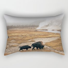 Mother Bison and Calf in Yellowstone National Park Rectangular Pillow
