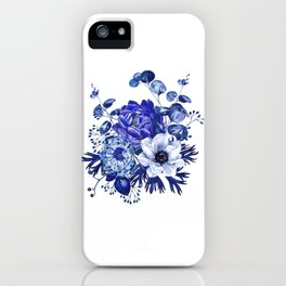 China Blue Porcelain, Asia, Peony, Flower, Floral, Cyan iPhone Case