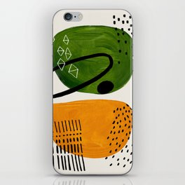 Mid Century Modern Abstract Colorful Art Patterns Olive Green Yellow Ochre Orbit Geometric Objects iPhone Skin
