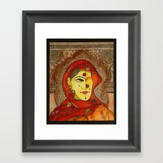 Woman in Red Scarf Framed Art Print