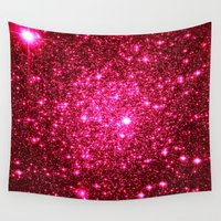 glitter Wall Tapestries featuring Hot Pink Glitter Stars by 2sweet4words Designs