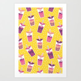 Bubble Tea Boba Pattern Art Print