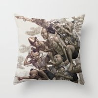la Throw Pillows featuring Ten Brothers by Artgerm™
