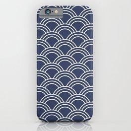 Blue & White Japanese Seigaiha Wave  iPhone Case