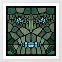 kaiju Art Prints featuring Kaiju Voronoi by Enrique Valles