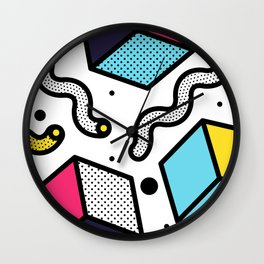 Memphis Pop-art Pattern II Wall Clock