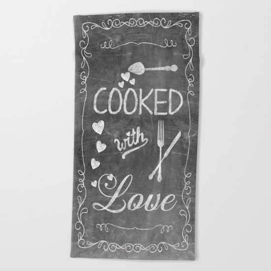 Cooked with Love Retro Chalkboard Sign Beach Towel