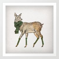 deer Art Prints featuring Deer by David Fleck