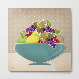 Picture . A bowl of fruit. Metal Print
