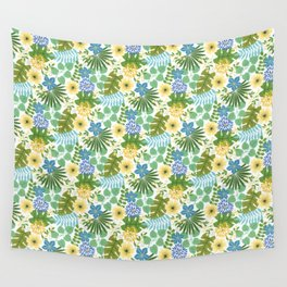 Tropical Blue and Yellow Floral, Light Wall Tapestry