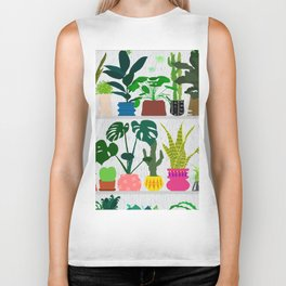 Plants on the Shelf in Gray + White Wood Biker Tank