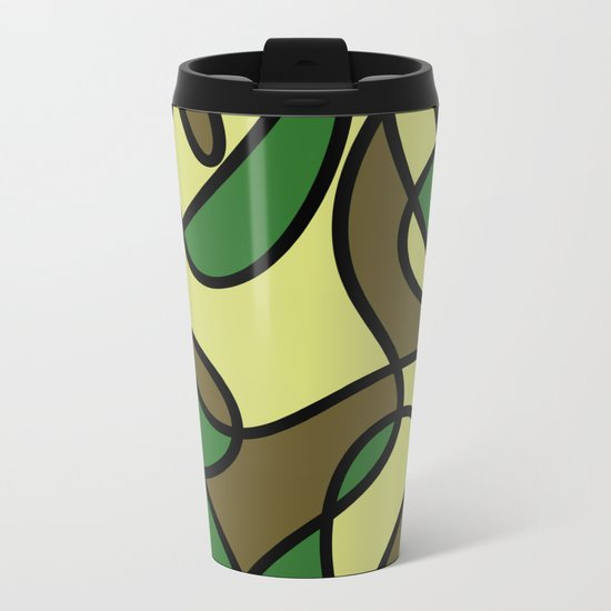 Camo Curves - Abstract, camouflage coloured pattern Metal Travel Mug