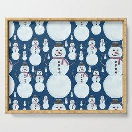 Cute Frosty Blue Snowman Watercolor Pattern Serving Tray
