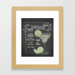 Margarita Cocktail Bar Recipe Vintage Framed Art Print