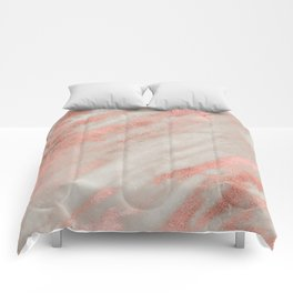 Smooth rose gold on gray marble Comforters