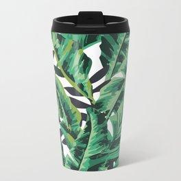 Tropical Glam Banana Leaf Print Metal Travel Mug