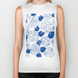 Blue blockprint roses Biker Tank