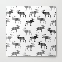 Moose Trot // Black & White Plaid Metal Print