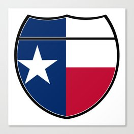 Texas Flag In An Interstate Sign Canvas Print
