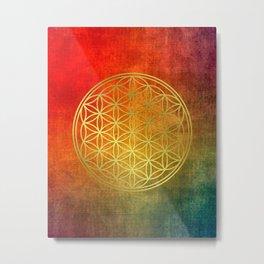 Sacred Geometry Golden Flower of Life Metal Print