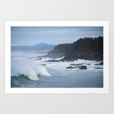 Crashing Waves In Blue Art Print