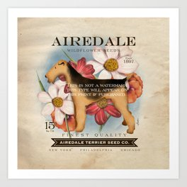 Airedale Terrier Seed Company artwork by Stephen Fowler Art Print