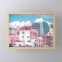 Pink and Blue Seoul Framed Mini Art Print