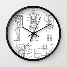 Parachute Pack Patent - Sky Diving Art - Black And White Wall Clock