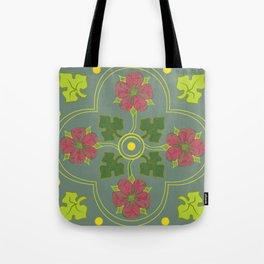 Tudor Rose with Sage Tote Bag