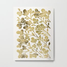 Cherry Blossoms – Gold Palette Metal Print