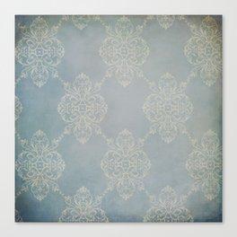 Vintage Damask - Faded Indigo Blue Canvas Print