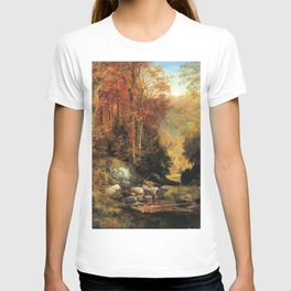 Cresheim Glen Wissahickon Autumn 1864 1 By Thomas Moran | Daytime Hike Watercolor Reproduction T-shirt