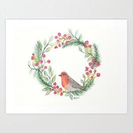 Christmas Wreath Robin Art Print