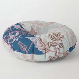Tomatoes leaves in coral and blue Pantone palette Floor Pillow