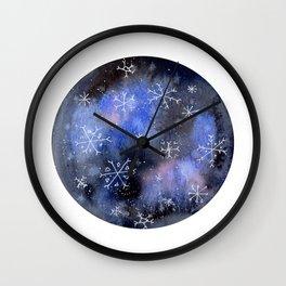 Watercolor Galaxy with Snowflakes Wall Clock