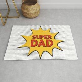 Super Dad. Comic speech bubble in Pop Art style Rug